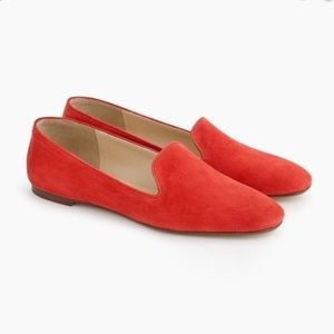 $158 J. Crew Suede Smoking Flats Coral NWT 6